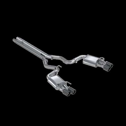 MBRP S72093CF 18-20 Ford Mustang GT 5.0 w/ Quad Tip Active Exhaust Cat Back Split Rear T304 w/ Carb Fib Tips